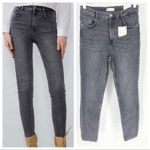 ZARA NWT VINTAGE SKINNY Hi-Rise Ankle Jeans Gray